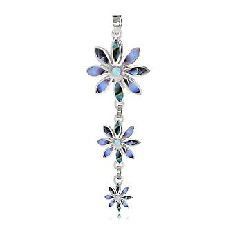 ADEN 925 Sterling Silver Abalone Pendant Necklace 3 flowers (id 4548)