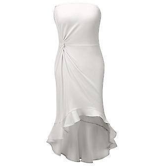 Women Elegant Sleeveless Strapless Ruffles Bandeau Bodycon Party Dress
