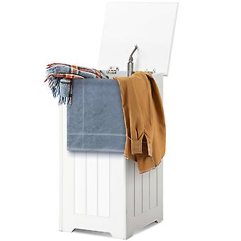Wooden Laundry Cabinet Hamper Chest White Storage Cupboard Bin Home Furniture