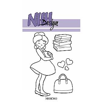 NHH Design Girl with Books Clear Stamps