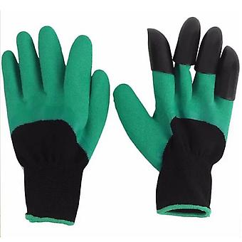 Waterproof Garden Mitten with 4 Claws Green