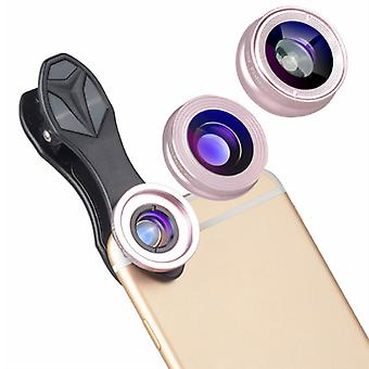 APEXEL 3 in 1 Camera Lens clip for Smartphones Pink - Fisheye / Wide Angle / Macro Lens