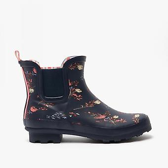 Stormwells River Ladies Rubber Ankle Wellington Boots Navy/floral