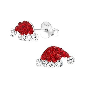 Sterling Silver Santa Hat Stud Earrings with Crystals