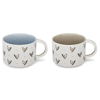Cooksmart Farmers Kitchen Stacking Mugs, Blue and Putty