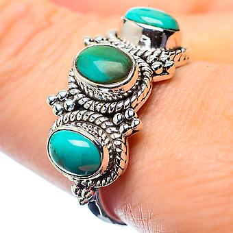 Tibetan Turquoise Ring Size 9 (925 Sterling Silver)  - Handmade Boho Vintage Jewelry RING26373