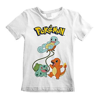 Children's Pokemon Original Trio Characters White T-Shirt