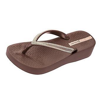 Ipanema mesh Wedge 21 Womens Beach flip flops/sandaler-kaffe Rose