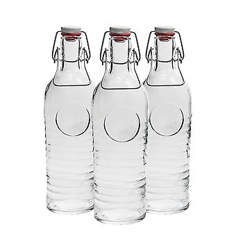 Bormioli Rocco Officina 1825 Vintage Flip Top Glass Bottle - 1200ml (37.25oz) - Clear - Set of 3