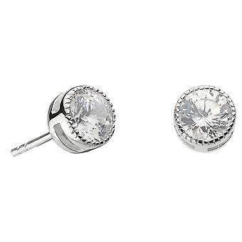 Dew Sterling Silver Large Vintage Cubic Zirconia Stud Earrings 3710CZ021