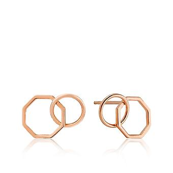 Ania Haie Rose Gold Two Shape Stud Earrings E008-08R