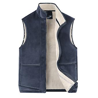 YANGFAN Men's Zipper Stand Collar Plush Vest Winter Warm Sleeveless Waistcoat