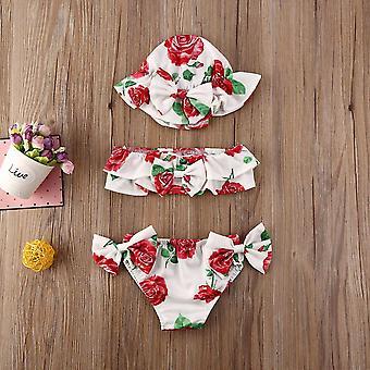 3pcs van pasgeboren baby zomer badpak -floral Print Bikini Sets