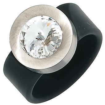 女子戒指PVC与不锈钢结合1水晶石黑色