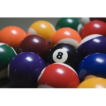 Lähikuva allas pallot telineissä biljardipöytä keskittynyt kasipallo-PosterPrint