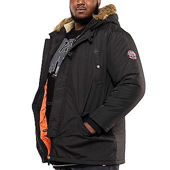 Duke D555 Mens Big Tall King Storlek Dundee Hooded Parka Coat Jacket - Svart