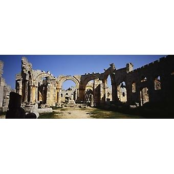 Old ruins of a church St Simeon The Stylite Abbey Aleppo Syria Poster Print