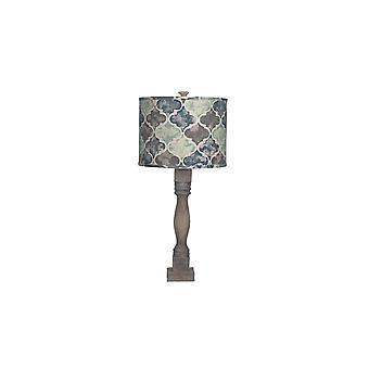 מנורת שולחן חומה במצוקה עם גוון עיצוב אריח מרוקאי
