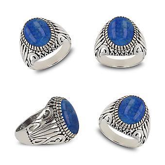 ADEN 925 Sterling Silver Lapis Lazuli Oval Shape Biker Ring (id 4848)