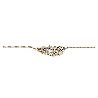 Gold Plated Leaf Necklace With Cubic Zirconia 45cm