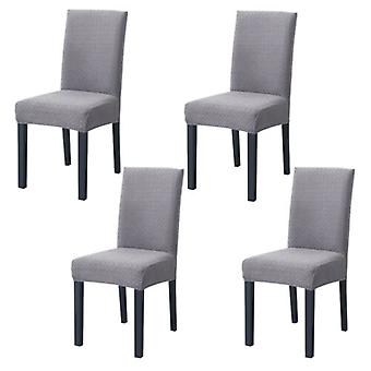4pcs Knitted Twill Stretch Dining Chair Covers For Wedding Banquet
