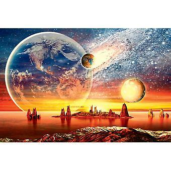 Wall Mural 3D Alien Planet med jorden, månen och bergen (37591297)