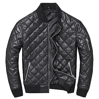Winter Warm Cotton Genuine Leather Jacket, Plaid Sheepskin Coat