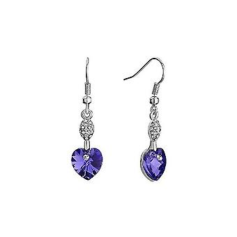 Tanzanite Purple - Swarovski Elements Crystal Heart Earrings Sterling Silver