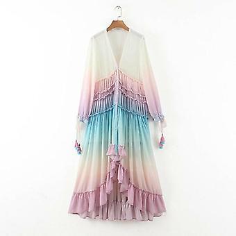 Dekolt w serek Elgant Long Maxi Sukienka
