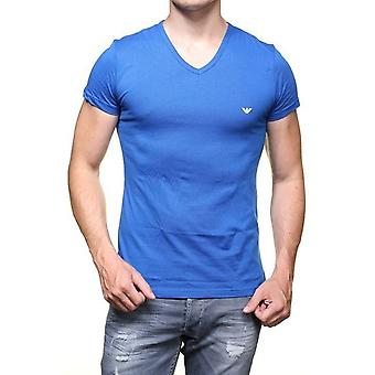 Emporio Armani Men T Shirt Royal Blue Cotton Short Sleeve