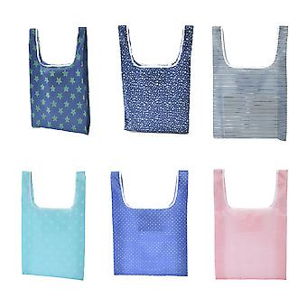 6 Pieces Folding Portable Shopping Bags Lightweight Environmental Protection Bag Picnic Bags