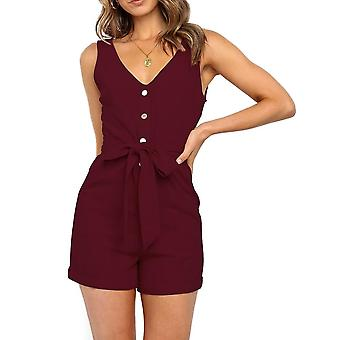 Femmes Sexy V Neck Sleeveless Button Cotton Playsuits Casual Slim Pocket