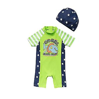 Infant Boy One Piece UPF 50+ Sun Protection S/S Sleeves Zip Sunsuit