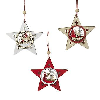 Wooden Christmas Detailed Star Hanging Decorations (Set of 3)