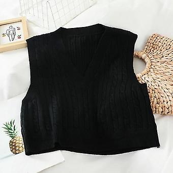 Autumn/winter V-neck Sleeveless Knit Tops Ladies Korean Style Sweater Vest