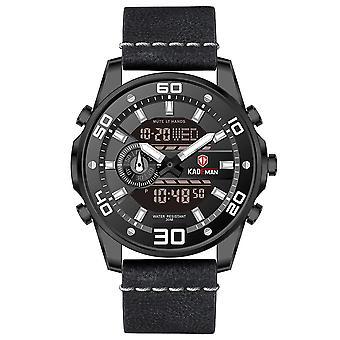 KADEMAN 6156G Fashion Men Digital Watch Luminous Date Week Display Leather Stra