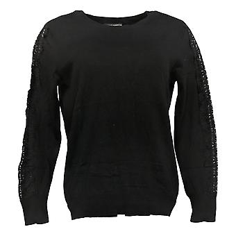 BROOKE SHIELDS Timeless Women's Sweater Pullover Lace Sleeve Black A342025
