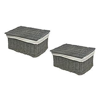 Set Of 2 Lidded Wicker Storage Hamper Basket + Lining