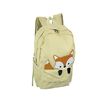 Sleepyville Critters Baby Peeking Fox Khaki Cotton Canvas Backpack
