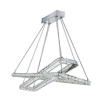 Lámpara Colgante 2 Rectángulos Trébol En Cromo, Cristal Y Cristal