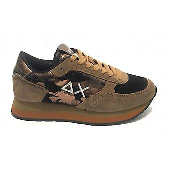 Running Sun68 Kate Camouflage Shine Sneaker In Suede Gold D20su03