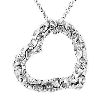 Sølv hjerte halskæde til kvinder Shinny Sterling stemplet Højglans Plain Solid