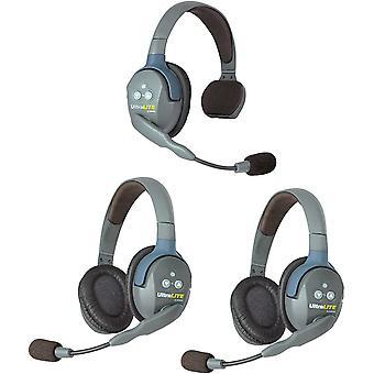 Eartec ul312 ultralite full duplex trådløs intercom 2-veis kommunikasjonssystem for 3 brukere - 1 ulsm single-ear master headset og 2-pack ps02567