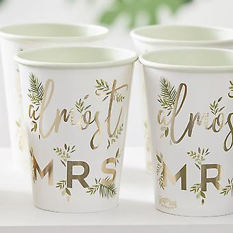 Gold Botanical Hen Party Cups - Almost Mrs x 8 Bachelorette