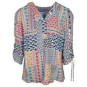 Tinta Style Colourful 3/4 Adjustable Rouched Sleeve Multi Print Blouse