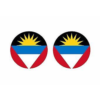 2x stick klistermärke rund cocarde flagga antigua barbuda