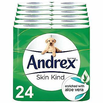 Andrex Toilettenrolle Skin Kind mit Aloe Vera Extrakt 2 Ply Toilettenpapier, 24 Rollen