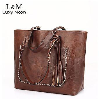 Vintage handväska kvinnor brun läder axelväska damer retro tote stora pu handväskor bolso 2019 mode stora svarta väskor xa540d