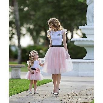 Mother And Daughter Summer T-shirt, Skirt, Tulle Dress