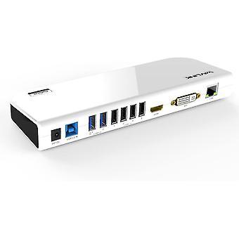 HanFei USB 3.0 Dockingstation mit Zwei Videoausgngen fr Notebooks (HDMI, DVI, VGA, 4X USB 2.0, 2X USB